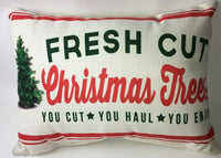 "Christmas Accent Throw Pillow Fresh Cut Christmas Trees 19 1/2 x 14"" Overstuffed"