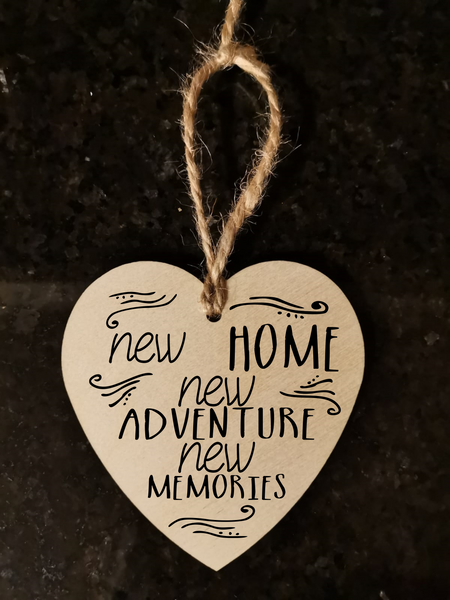 New Home Moving House Warming Gift Wooden Decorative Heart Gift Plaque -w23