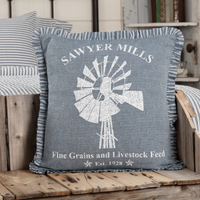 New Farmhouse Primitive SAWYER MILLS BLUE WINDMILL GRAIN SACK PILLOW Accent 18""