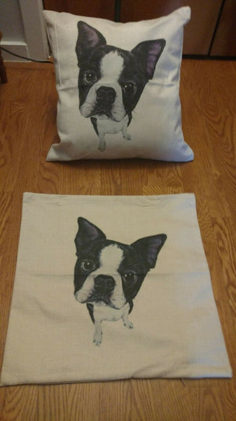 "New linen Accent pillow case 18""x18"" - Boston Terrier  -cute"