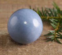 ANGELITE Crystal Sphere - Housewarming Gift, Crystal Ball, Home Decor E0229