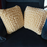"2 Hand Yarn Knit Curly Chunky Ruffle Crochet Toss Throw Accent Pillows 15""-16"""