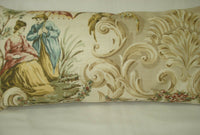 "Oriental Toile Shades Beige Lumbar Accent Decorative Throw Pillow Cover 9""x17"""