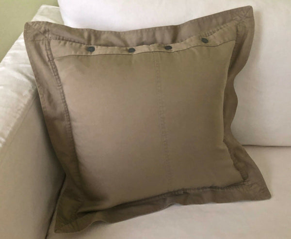 1 RALPH LAUREN *ACCENT PILLOW COVER* W/ RL METAL BUTTONS~UNIVERSITY CHINO KHAKI