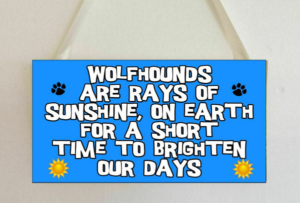 Wolfhound Plaque - Rays Of Sunshine On Earth - Novelty Sign Gift Present