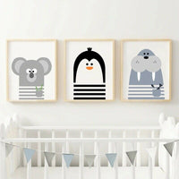 Nursery Animal Print Nordic Posters Baby Room Wall Decor Canvas Art Painting