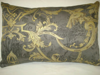 "TOILE LUMBAR DECORATIVE ACCENT THROW PILLOW COVER Gray Gold 11"" x 16"""
