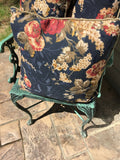 (3) Matching Pillows-Blue/Navy Plaid & Floral Print W/Cording-French-FREE SHIP!