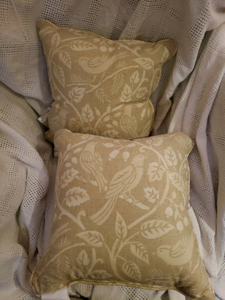 Throw Accent Pillows Set of 2 Beige Bird Scroll, New without tags.