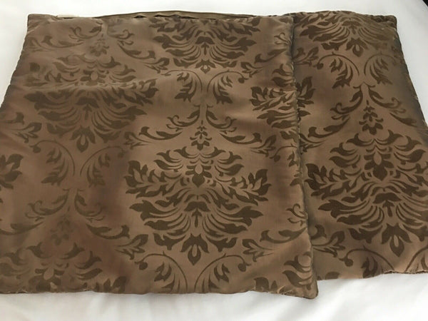 2 Brown Satin Embossed Damask Accent Throw Pillow Covers