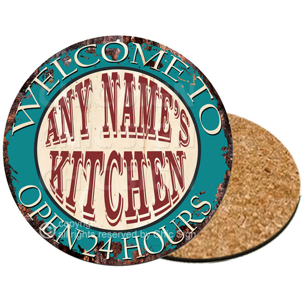 CP0096 Name's Kitchen Personalized Coasters Bar Pub Housewarming Gift Ideas