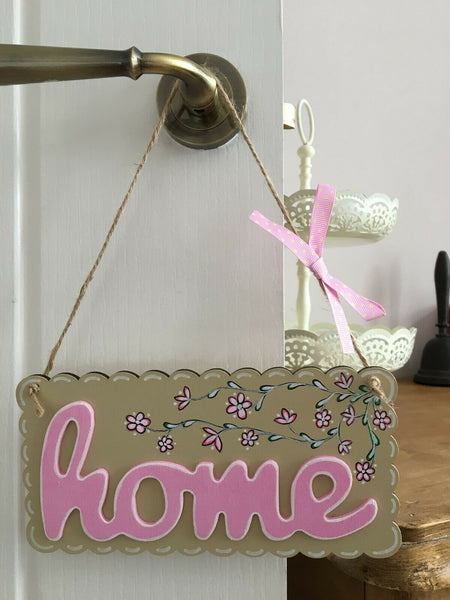 Hanging Decorative Wooden Sign - Home/Floral House Warming Gift - Handmade