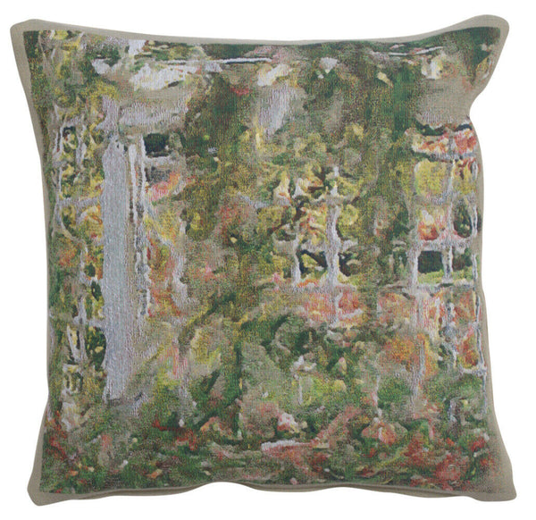 Jardin Red Flowers Belgian Tapestry Pillow Cover Accent Cushion Jacquard Woven