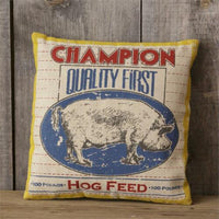 New Primitive Farmhouse Chic Retro Vintage Style PIG FEED SACK PILLOW Accent 16""