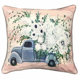 Pair of Accent Pillows - Vintage Truck and Flowers