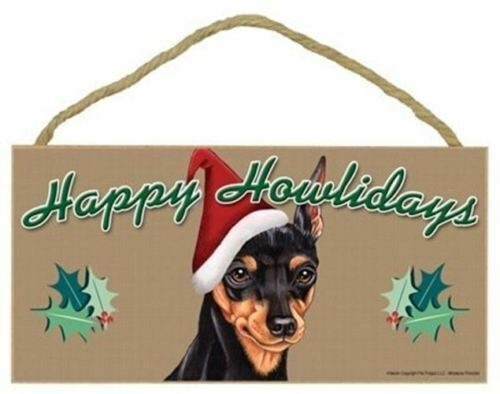 "Happy Howlidays Miniature Pinscher Christmas Dog Sign Gift 5""x10"" Plaque 292"