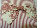 French Country Cottage Farmhouse Accent Pillow Red Ticking Removable Toile Bow