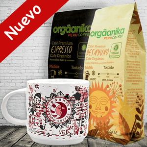 2-Pack + Andean Fire Cup: Organic Espresso Coffee / Breakfast x 250 gr. - Ground