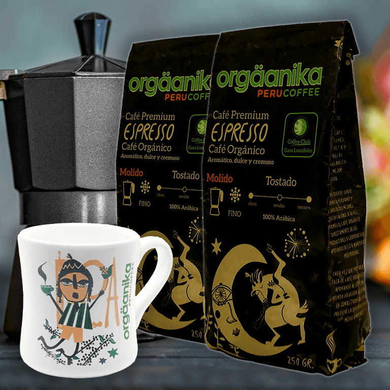 2-Pack + Moche Cup: Organic Espresso Coffee x 250 gr. - Ground