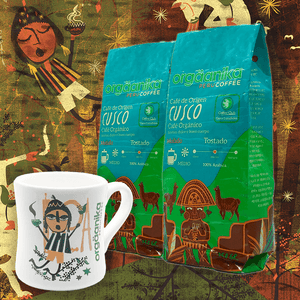 2-Pack + Mug Moche: Organic Coffee of Origin x 250 gr. - Ground