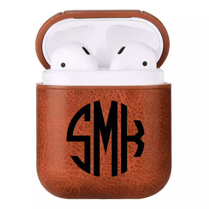 Monogram Custom Faux Leather Airpod Case
