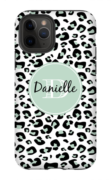 Mint Leopard Monogram Phone Case