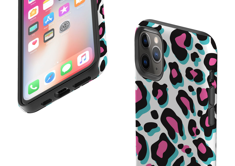 Hot Pink and Blue Leopard Phone Case