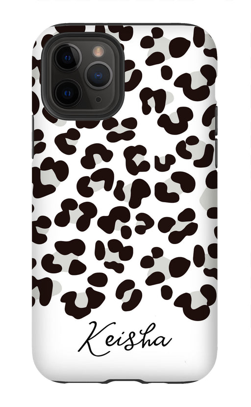 White and Black Leopard Name Phone Case