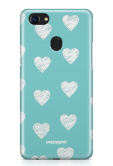 """White Hearts"" Oppo F7 Printed Back Cover Case"