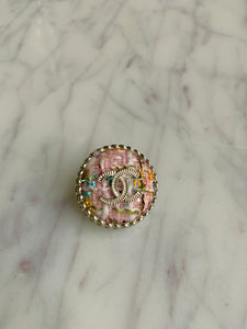 Chanel Pink Tweed Pin