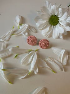 Chanel Pale Pink Button Earrings