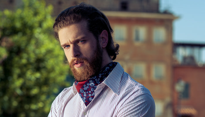 mens silk neckerchief worn tucked into a shirt