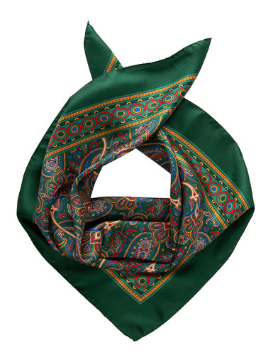 mens green silk neckerchief