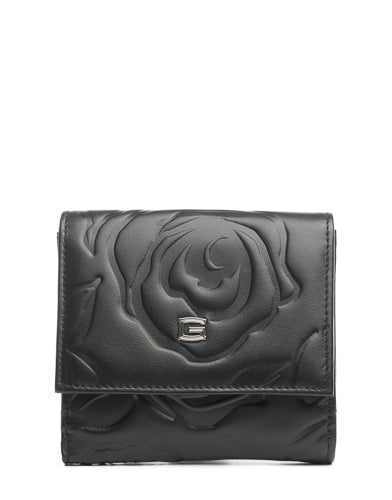 black wallet with roses