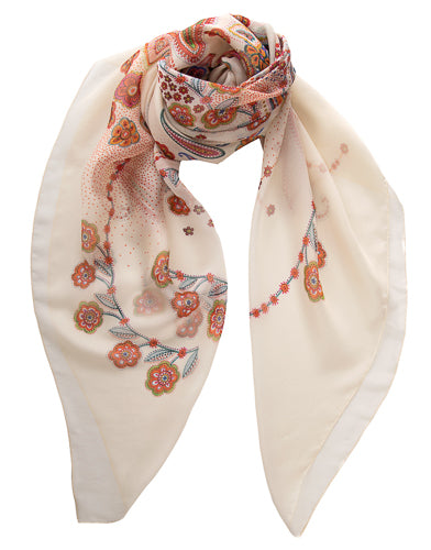 oversized cream silk scarf
