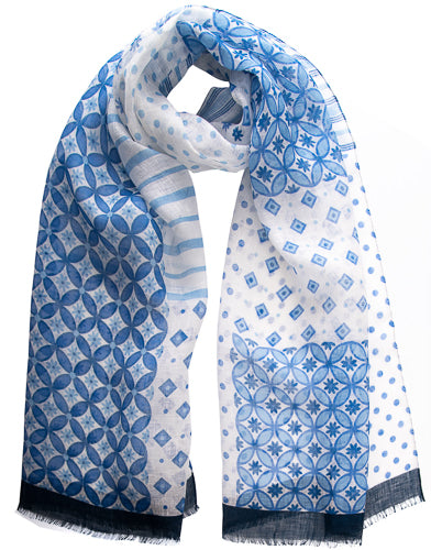 blue white linen scarf