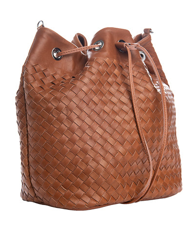 brown woven leather oval bucket bag