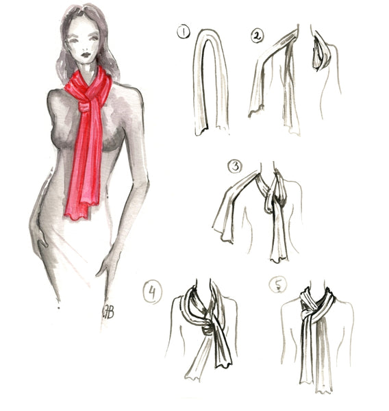 how to tie a long silk scarf