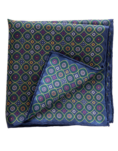 green silk pocket square