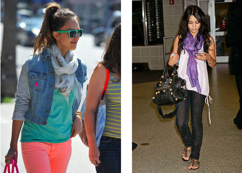 Jessica Alba and Vanessa Hudgens in silk scarves