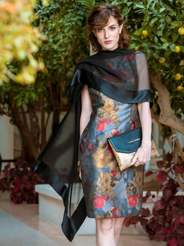 sheer black silk formal shawl