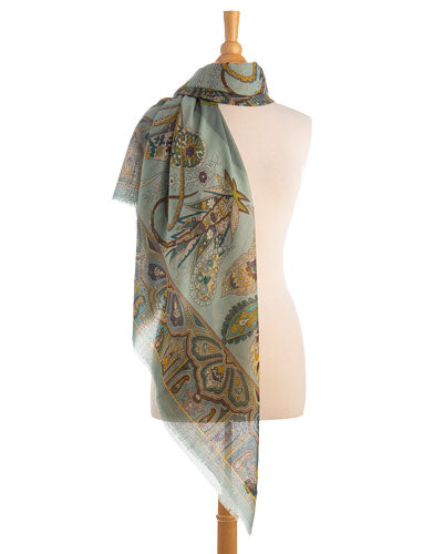 oversized green paisley wool silk wrap