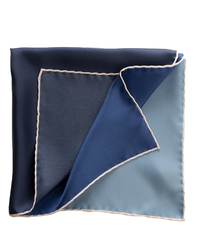 hand rolled italian blue pocket square