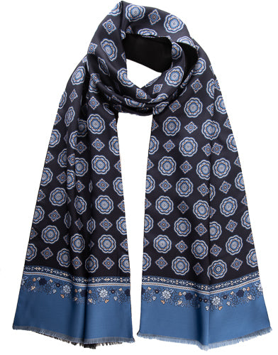 mens navy silk wool scarf