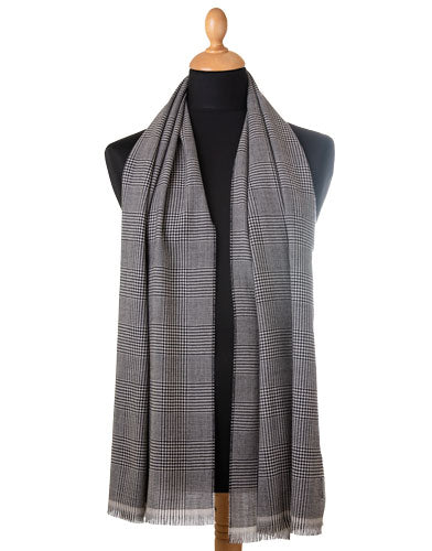 black and white houndstooth check luxury wool scarf