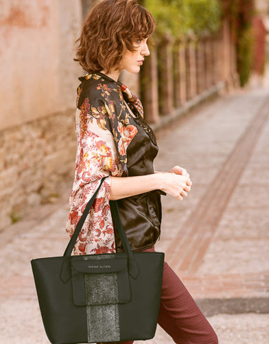 black italian leather tote bag