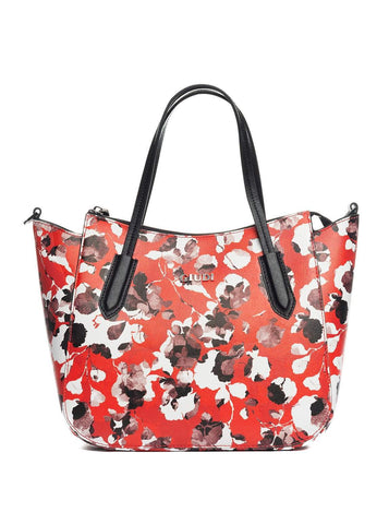 red floral leather handbag