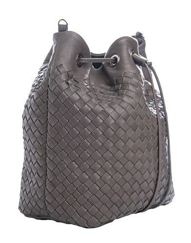 grey woven leather oval bucket bag