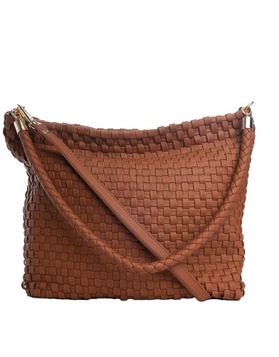 woven leather hobo handbag
