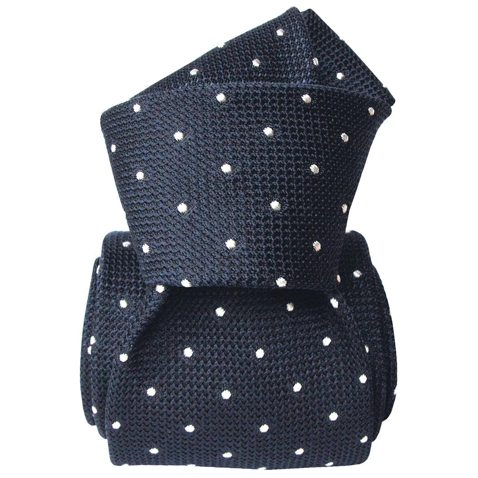 Navy Silk Grenadine Tie - White Woven Polka Dots
